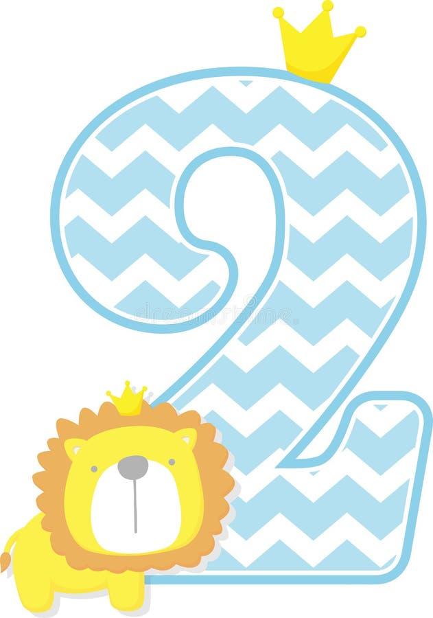 Numero 2 con il modello sveglio del gallone e di re leone royalty illustrazione gratis