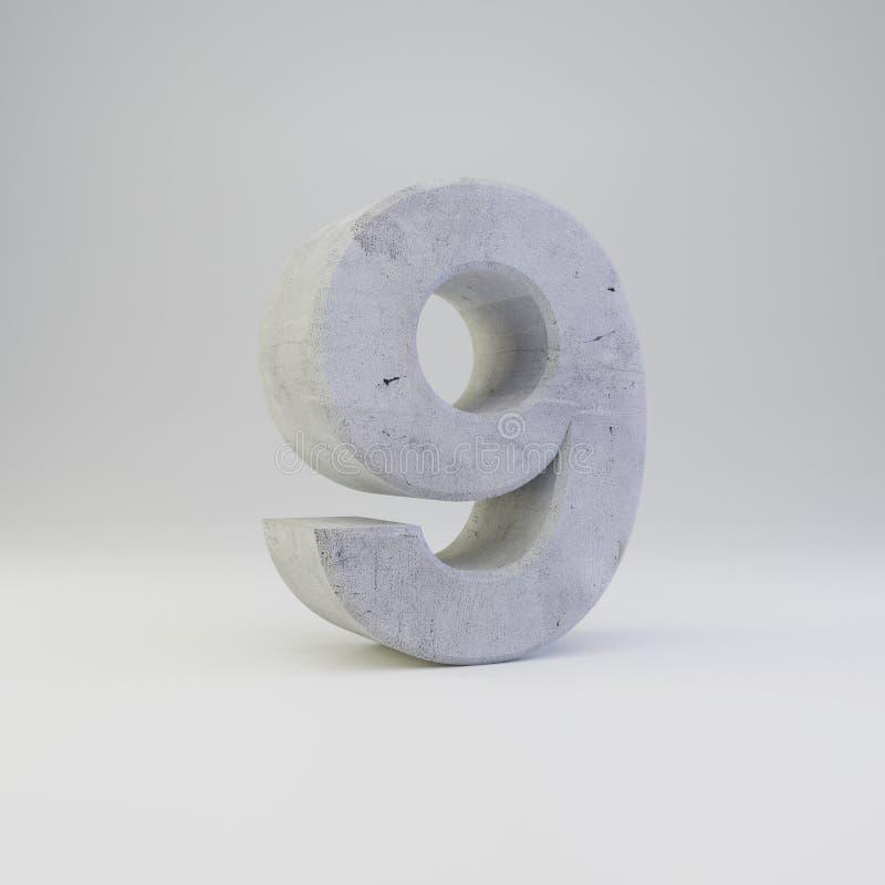 Numero concreto 9 con struttura del gesso isolata su fondo bianco illustrazione di stock