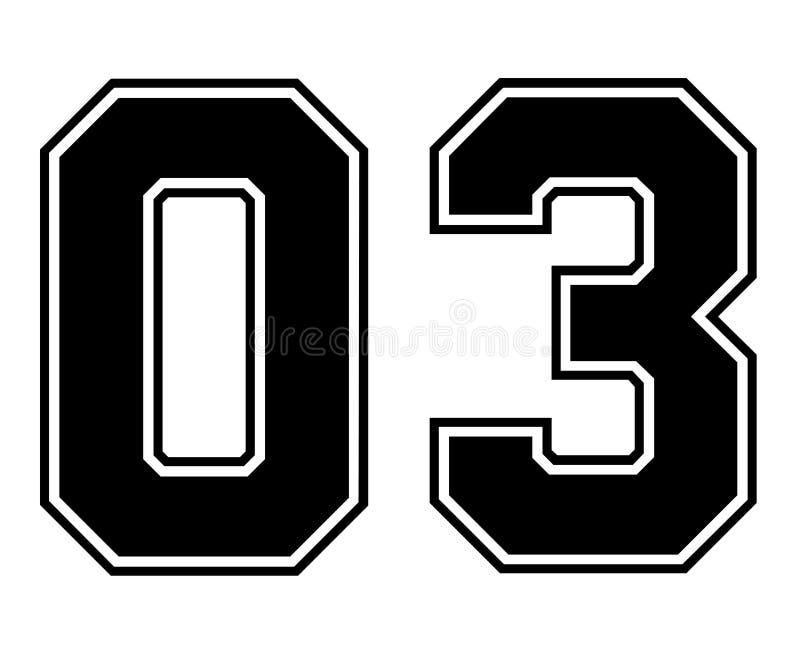 Numero d'annata del Jersey di sport di 03 classici nel numero nero su fondo bianco per football americano, baseball o pallacanest illustrazione di stock