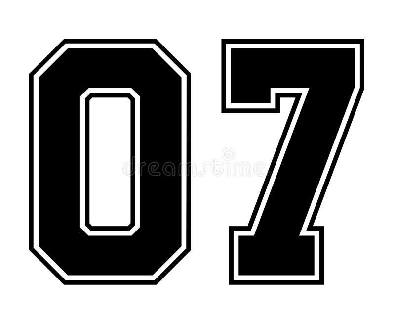Numero d'annata del Jersey di sport di 07 classici nel numero nero su fondo bianco per football americano, baseball o pallacanest illustrazione di stock