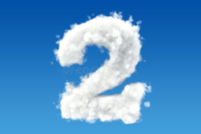 Numero 2, dalle nuvole nel cielo 3d illustrazione di stock