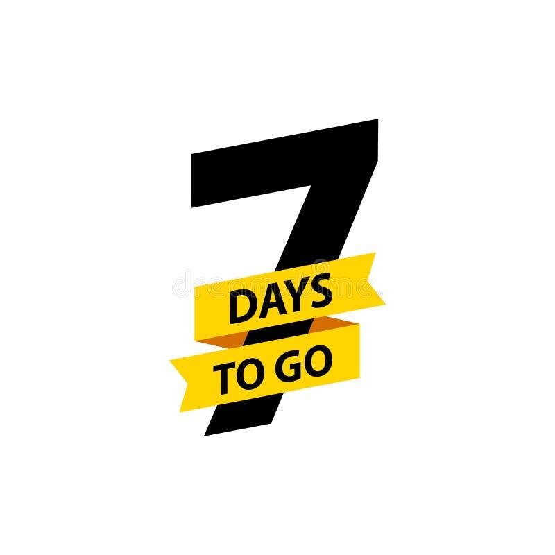 Numero 7 dei giorni da andare Vendita dei distintivi della raccolta, pagina d'atterraggio, insegna Illustrazione di vettore illustrazione di stock