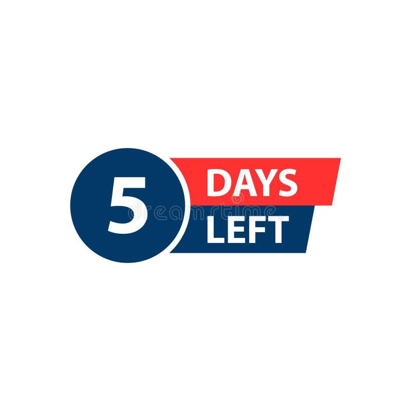 Numero 5 dei giorni da andare Vendita dei distintivi della raccolta, pagina d'atterraggio, insegna Illustrazione di vettore illustrazione di stock