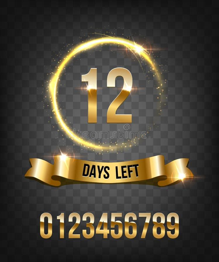 Numero dei giorni lasciati per andare progettazione di lusso Cerchio e nastro brillanti dorati con i numeri dorati Anello brillan illustrazione di stock