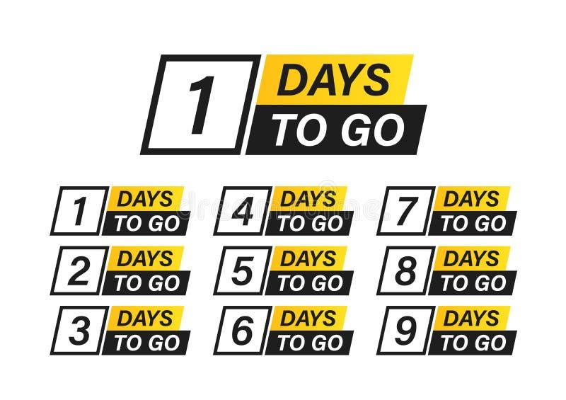 Numero 1, 2, 3, 4, 5, 6, 7, 8, 9, 10, dei giorni lasciati per andare Vendita dei distintivi della raccolta, pagina d'atterraggio, illustrazione di stock