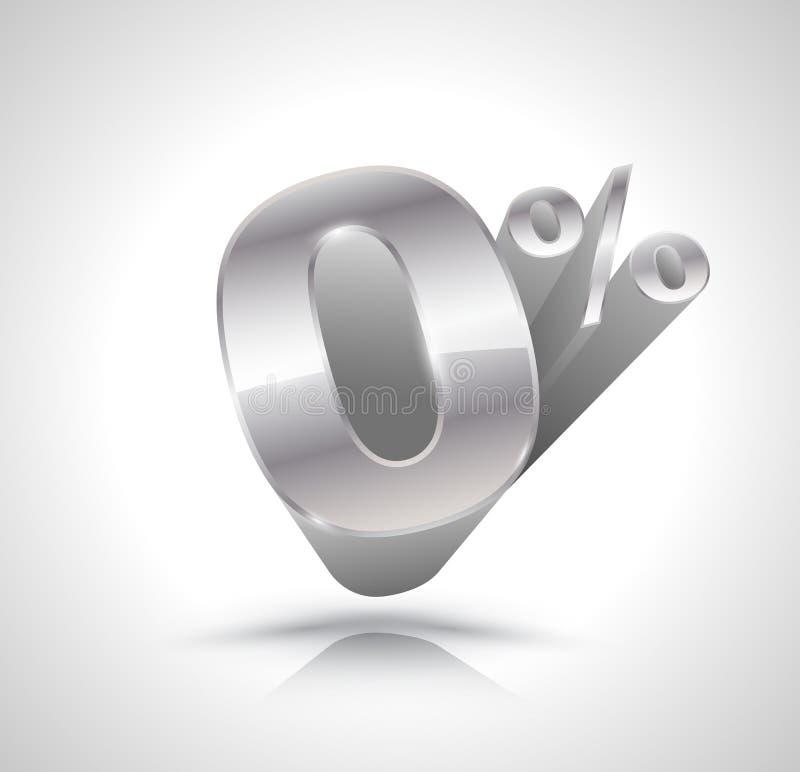 Numero dell'argento di vettore 3d zero per cento illustrazione vettoriale