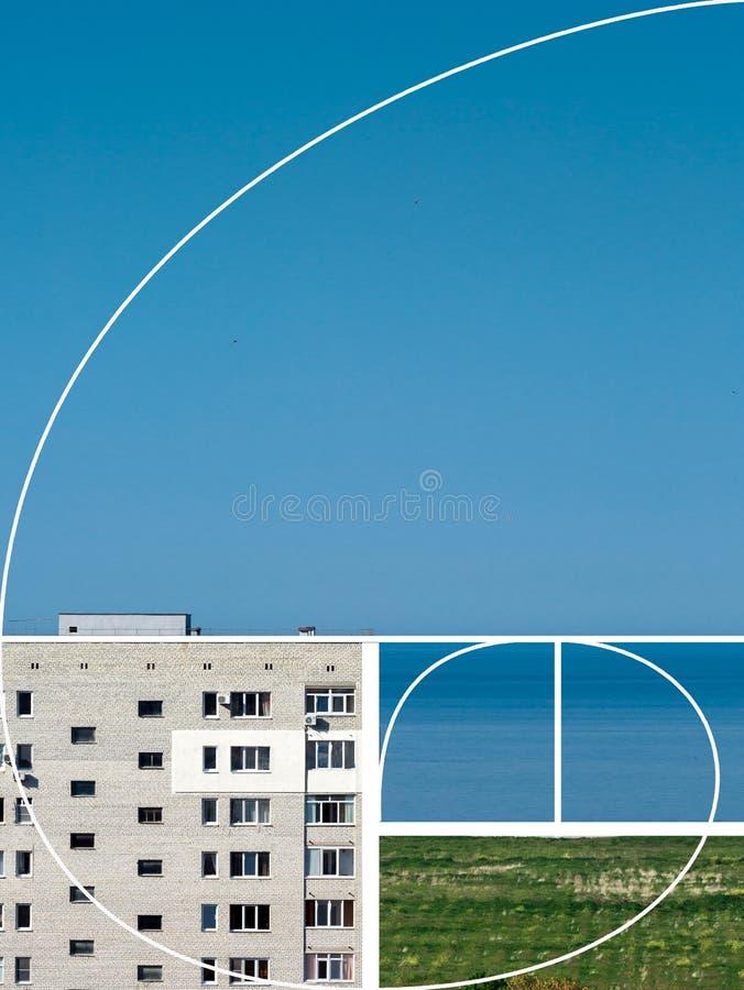 Numero di Fibonacci Visione creativa del paesaggio Porcile piano di disposizione fotografia stock