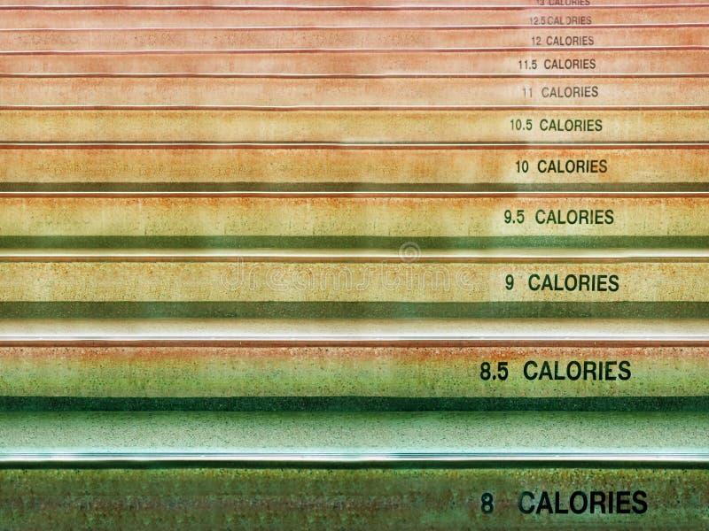 Numero dieplay del testo e della scala delle calorie fotografie stock
