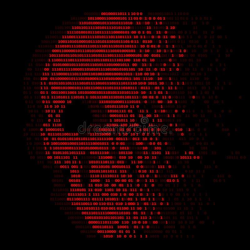 Numero digitale di logiche zero ed una del cranio rosso per progettazione di vettore dell'estratto di sicurezza del virus illustrazione vettoriale