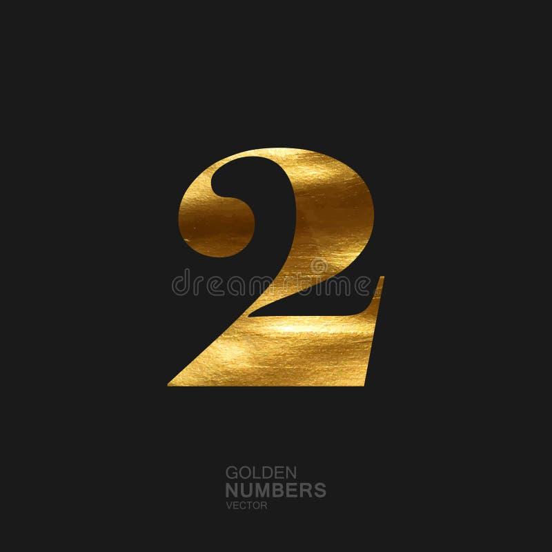 Numero dorato 2 illustrazione vettoriale