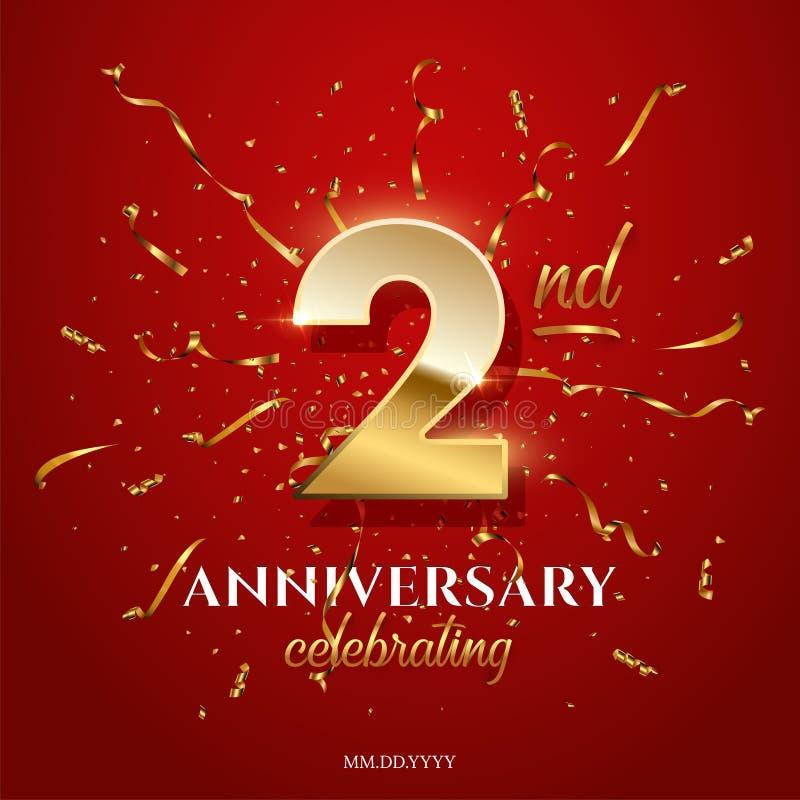 2 numero dorato ed anniversario che celebrano testo con la serpentina dorata ed i coriandoli su fondo rosso Vettore secondo royalty illustrazione gratis