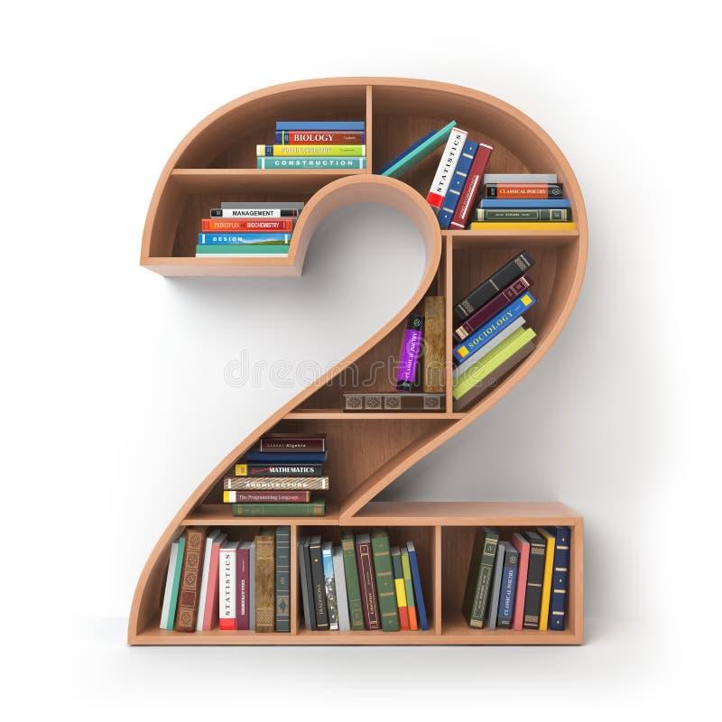 Numero 2 due Alfabeto sotto forma di scaffali con l'isolato dei libri illustrazione di stock
