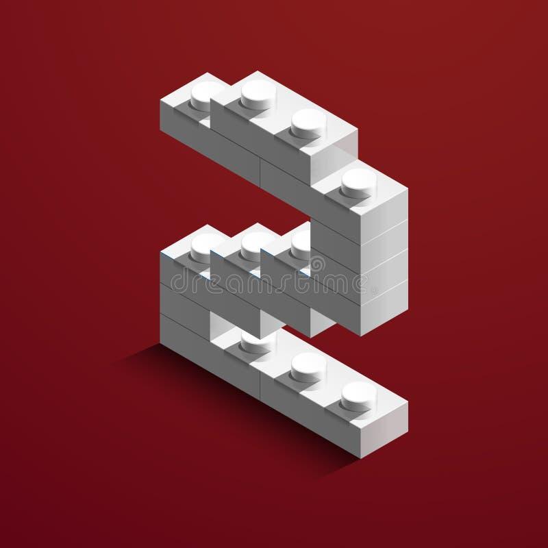 numero due bianco isometrico 3d dal mattone di lego su fondo rosso numero 3d dai mattoni di lego Numero realistico illustrazione vettoriale