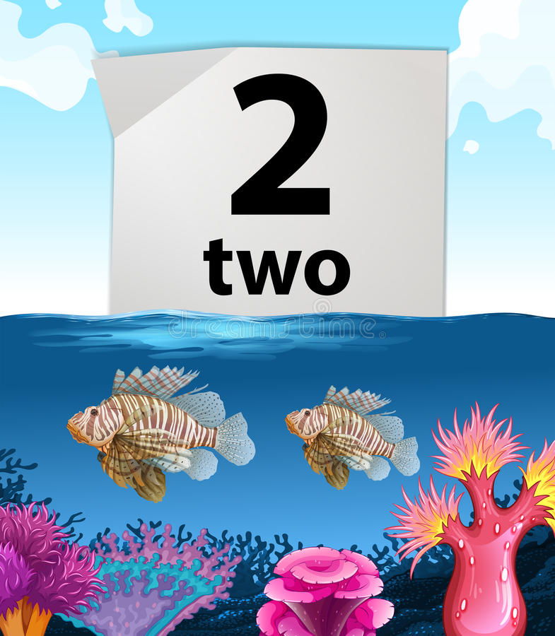 Numero due e pesce due sotto il mare illustrazione di stock