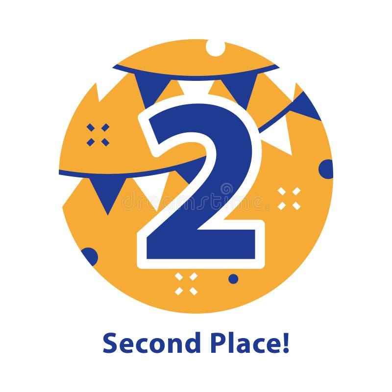 Numero due, secondo posto, cerimonia di premiazione, celebrante evento, riuscita realizzazione royalty illustrazione gratis