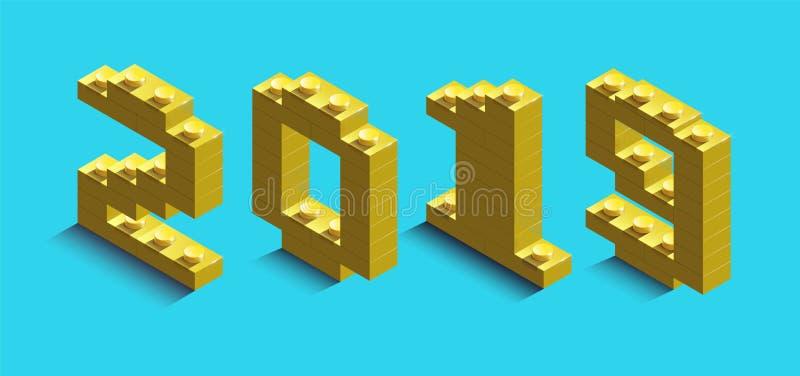 numero izometric 3d del nuovo anno dai mattoni di lego 3d numero izometric 2019 dai mattoni del costruttore illustrazione di stock