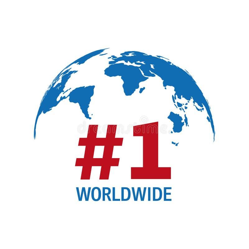 Numero mondiale segno blu e rosso uno di vettore illustrazione vettoriale