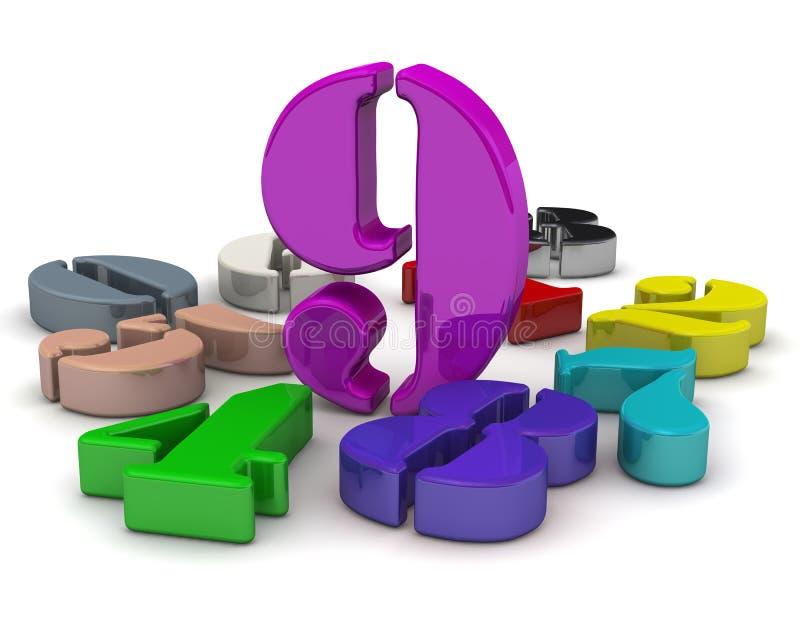 Numero nove in mezzo ai numeri illustrazione di stock