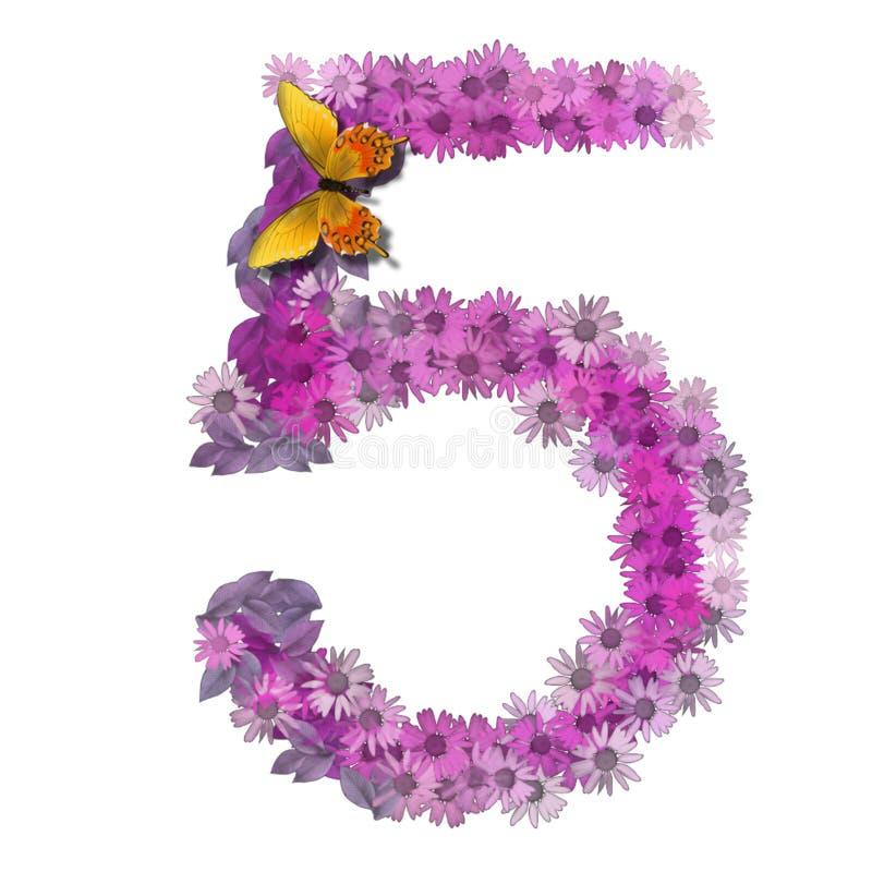 Numero o numero 5 illustrazione vettoriale