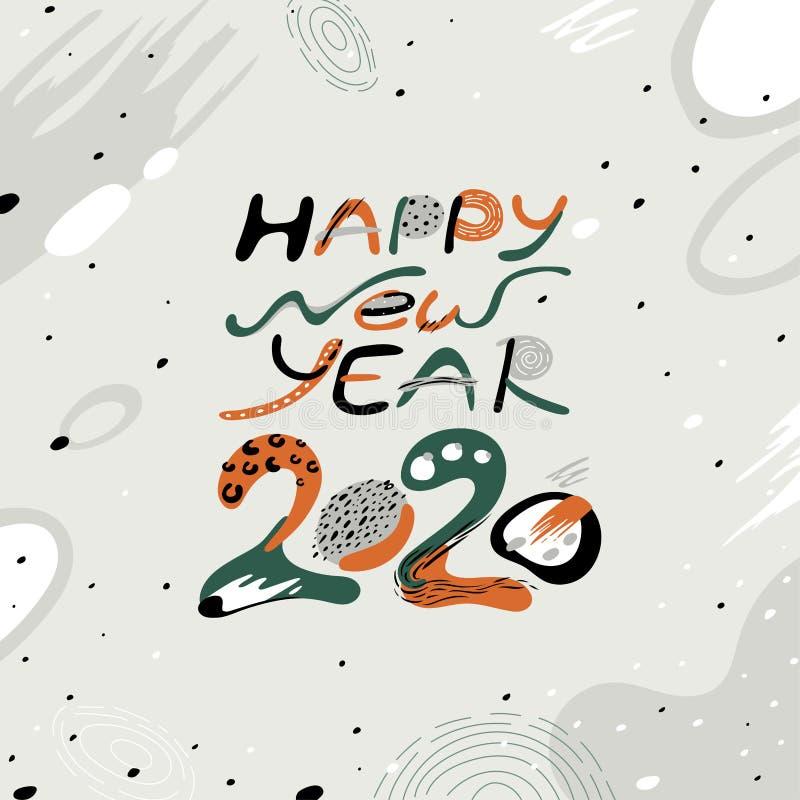 Numero 2020 Oggetto decorativo di vettore Cartolina d'auguri con il buon anno 2020 dell'iscrizione fotografia stock