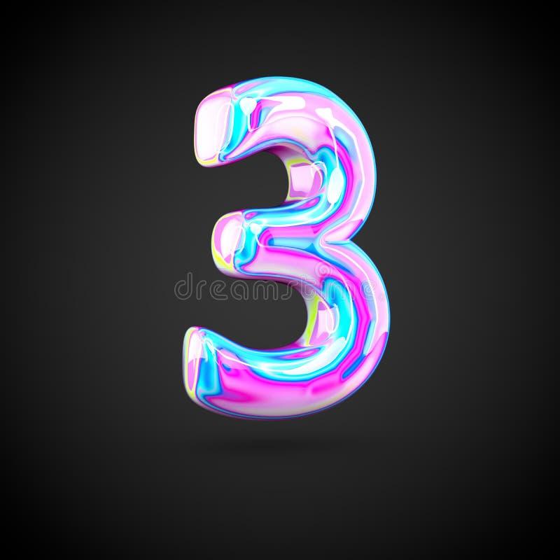 Numero olografico lucido 3 isolato su fondo nero illustrazione vettoriale