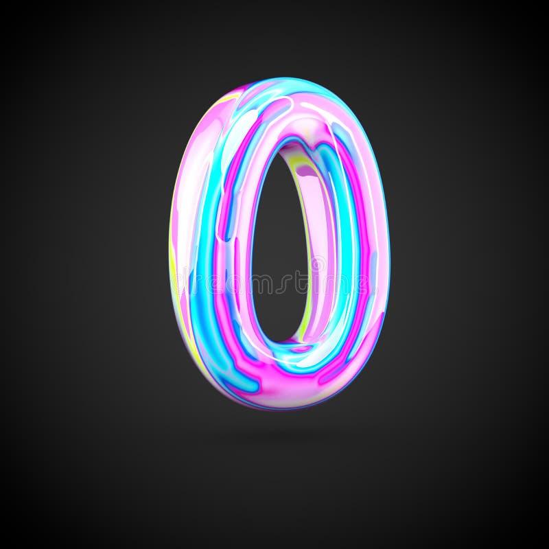 Numero olografico lucido 0 isolato su fondo nero illustrazione di stock
