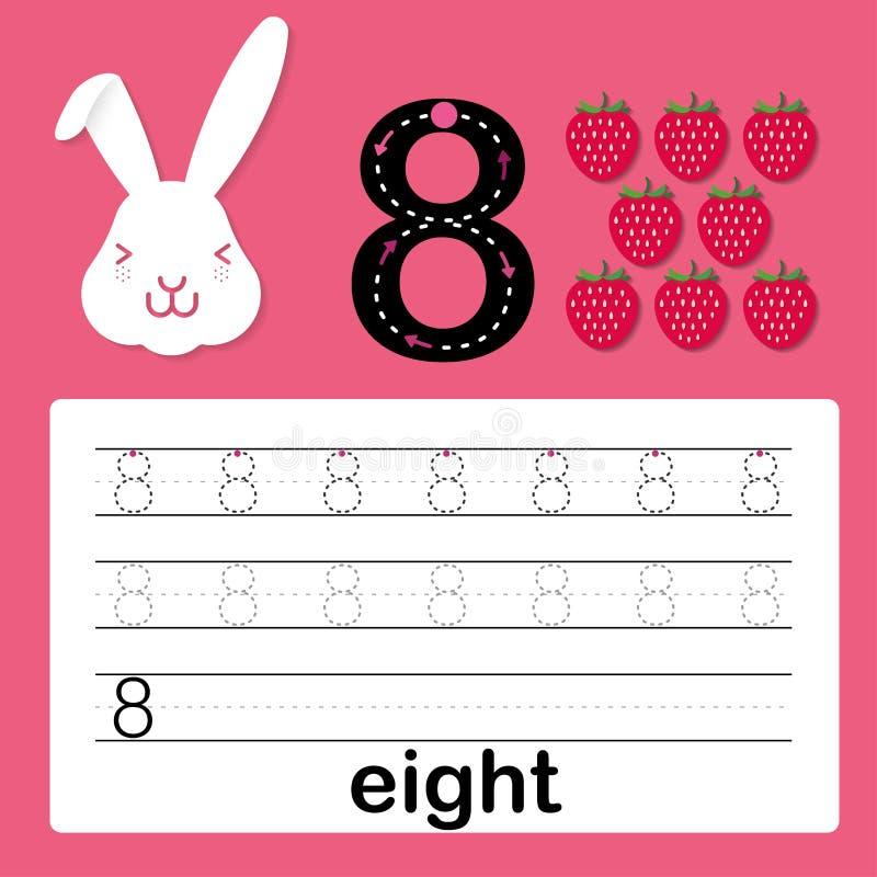 Numero otto, carta per i bambini che imparano contare e scrivere, foglio di lavoro affinchè bambini pratichino scrivere abilità,  illustrazione di stock