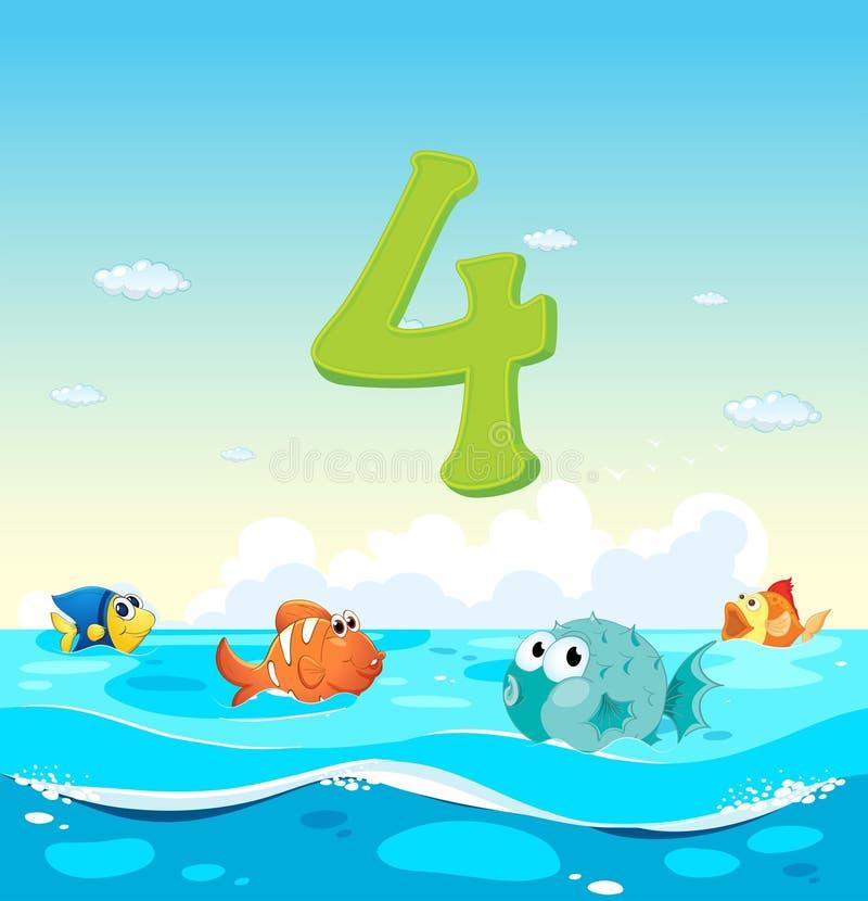 Numero quattro con il pesce 4 nell'oceano illustrazione vettoriale