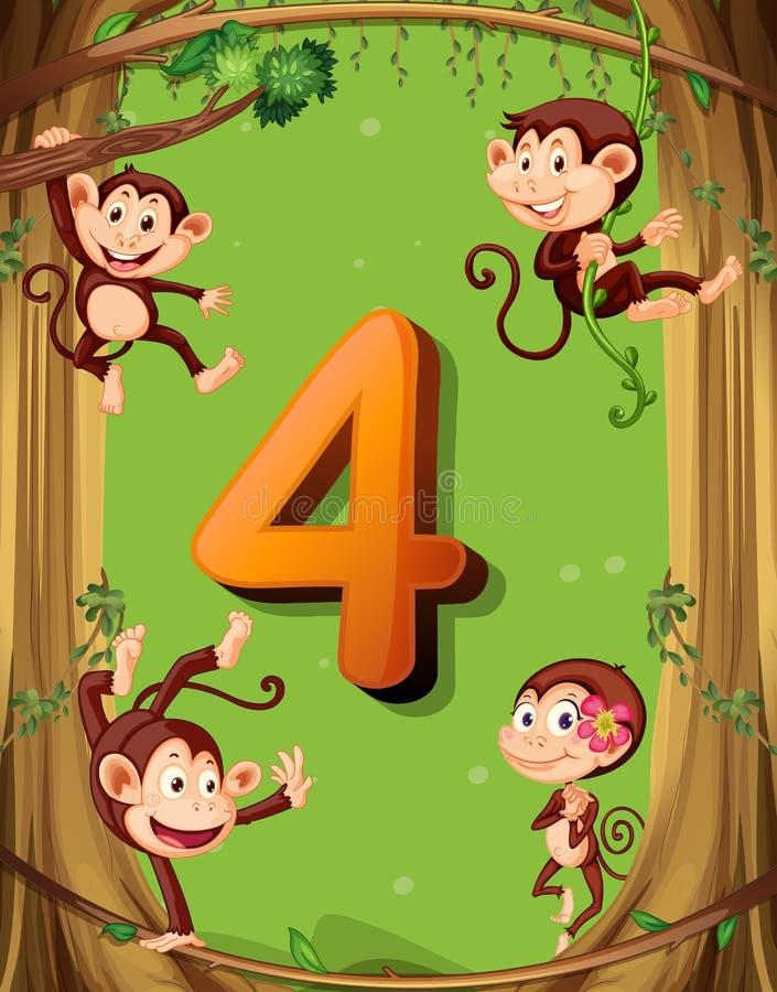 Numero quattro con 4 scimmie sull'albero royalty illustrazione gratis