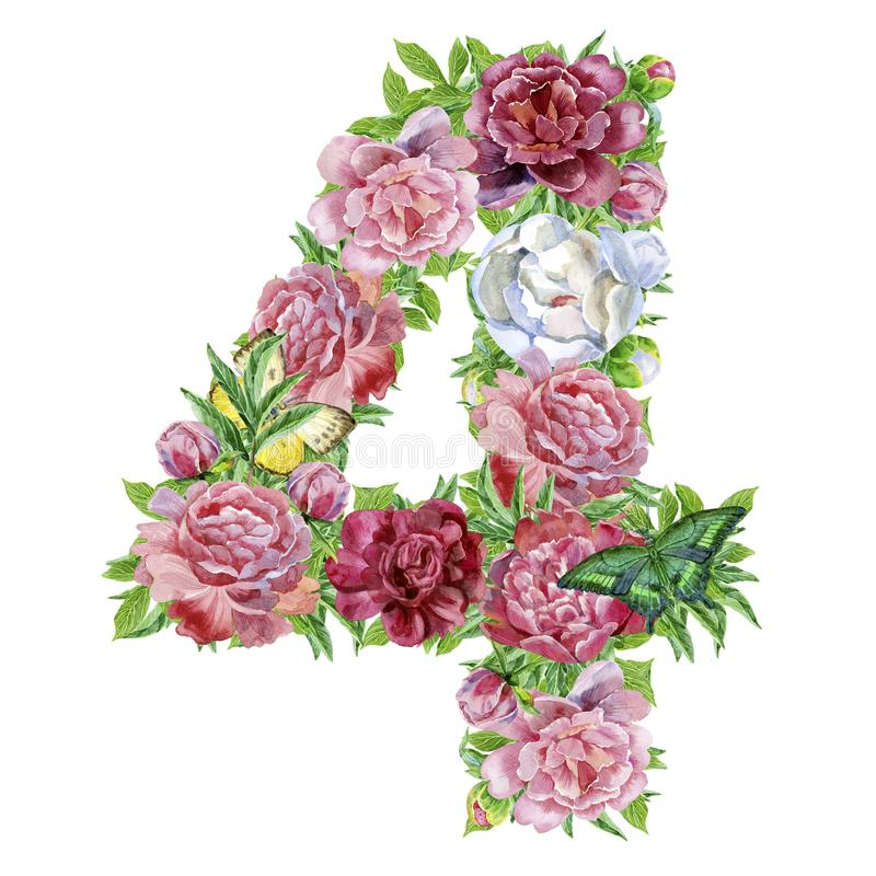 Numero quattro dei fiori dell'acquerello illustrazione vettoriale