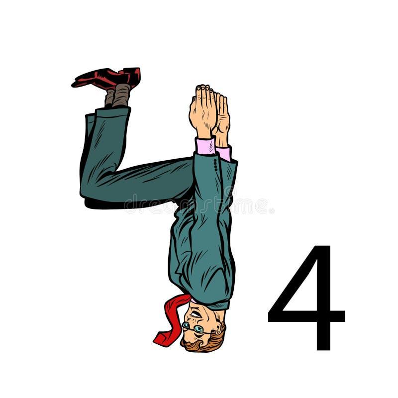 Numero quattro 4 Gente di affari di alfabeto della siluetta illustrazione vettoriale