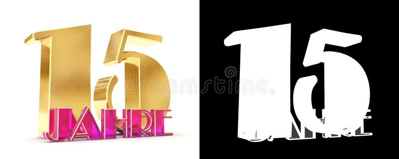 Numero quindici anni 15 anni di progettazione di celebrazione Elementi dorati del modello di numero di anniversario per la vostra royalty illustrazione gratis