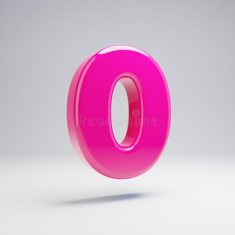 Numero rosa lucido volumetrico 0 isolato su fondo bianco illustrazione vettoriale