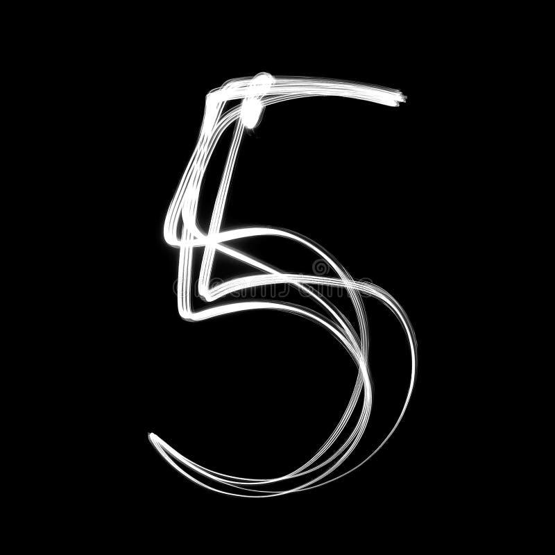 Numero scritto con le lampade Numero 5 illustrazione vettoriale