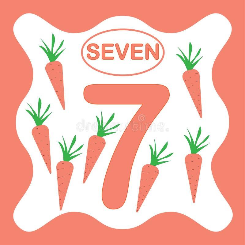 Numero 7 sette, carta educativa, imparante conteggio royalty illustrazione gratis