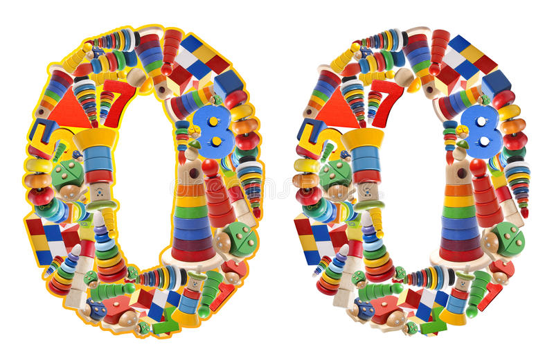 Numero 0 sviluppato dai giocattoli di legno fotografia stock libera da diritti