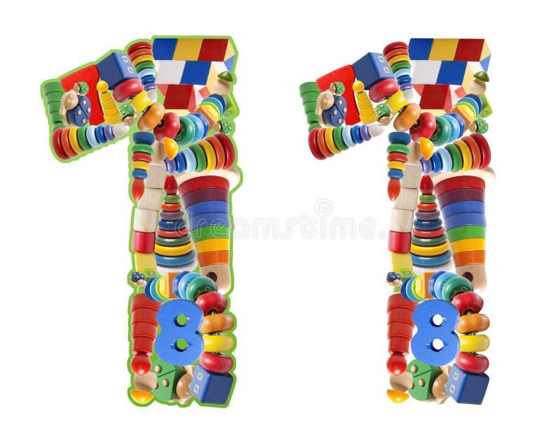 Numero 1 sviluppato dai giocattoli di legno immagini stock