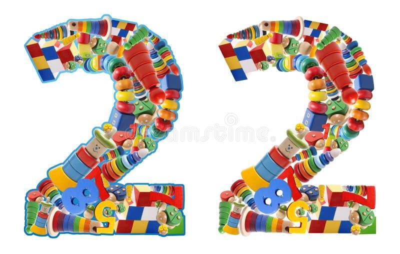 Numero 2 sviluppato dai giocattoli di legno illustrazione di stock