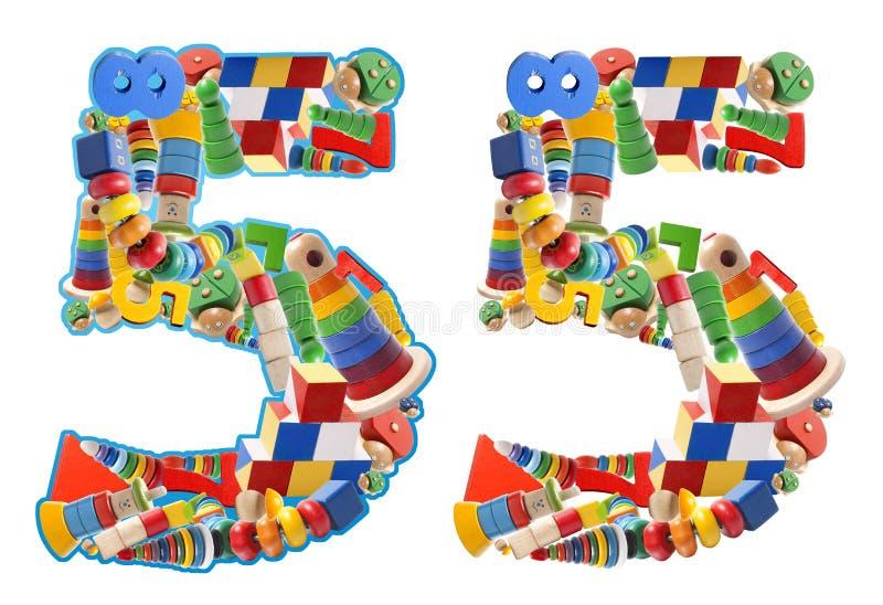 Numero 5 sviluppato dai giocattoli di legno fotografia stock libera da diritti