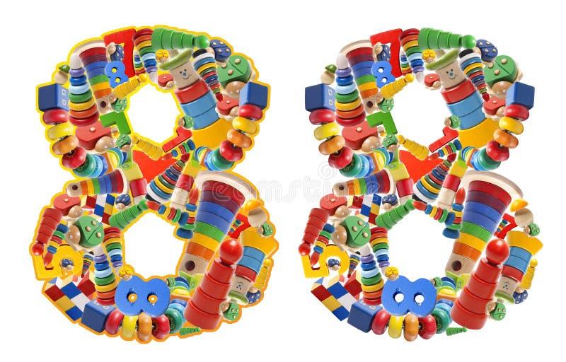 Numero 8 sviluppato dai giocattoli di legno fotografia stock