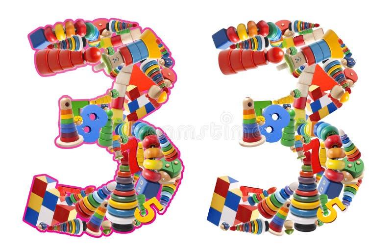 Numero 3 sviluppato dai giocattoli di legno immagine stock