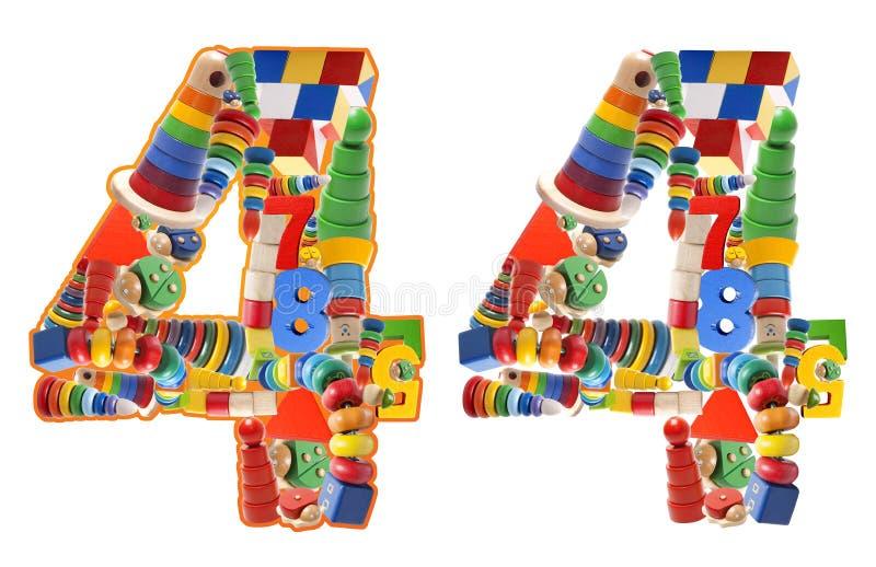 Numero 4 sviluppato dai giocattoli di legno fotografia stock libera da diritti