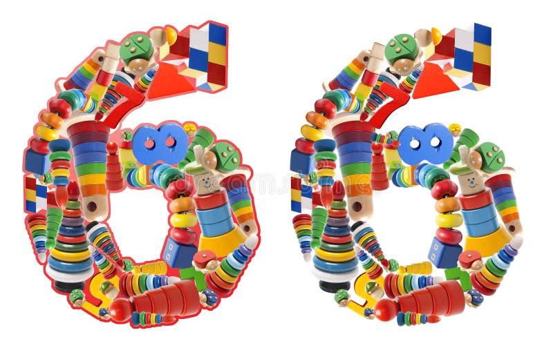Numero 6 sviluppato dai giocattoli di legno fotografia stock