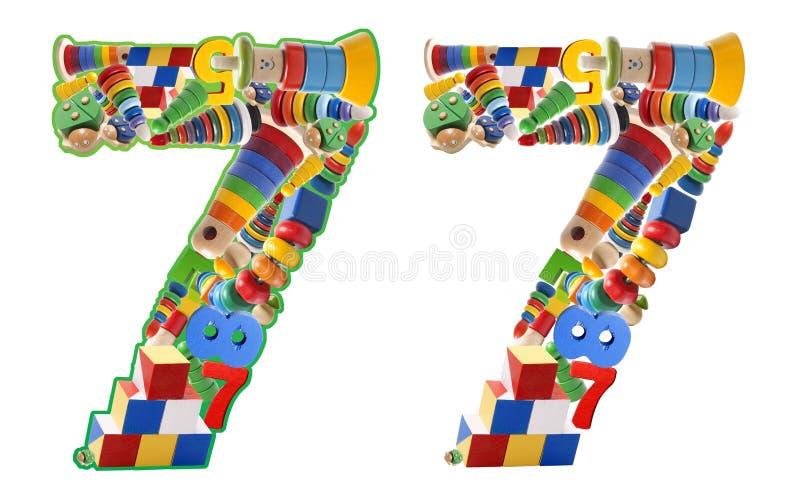 Numero 7 sviluppato dai giocattoli di legno immagine stock libera da diritti