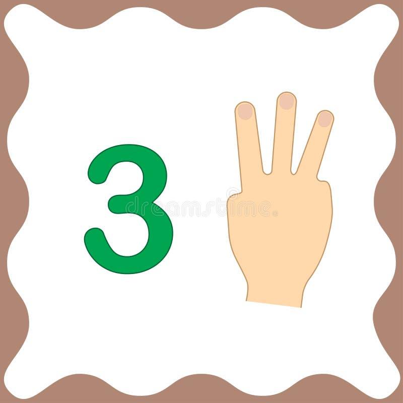 Numero 3 tre, carta educativa, imparante conteggio con le dita illustrazione vettoriale