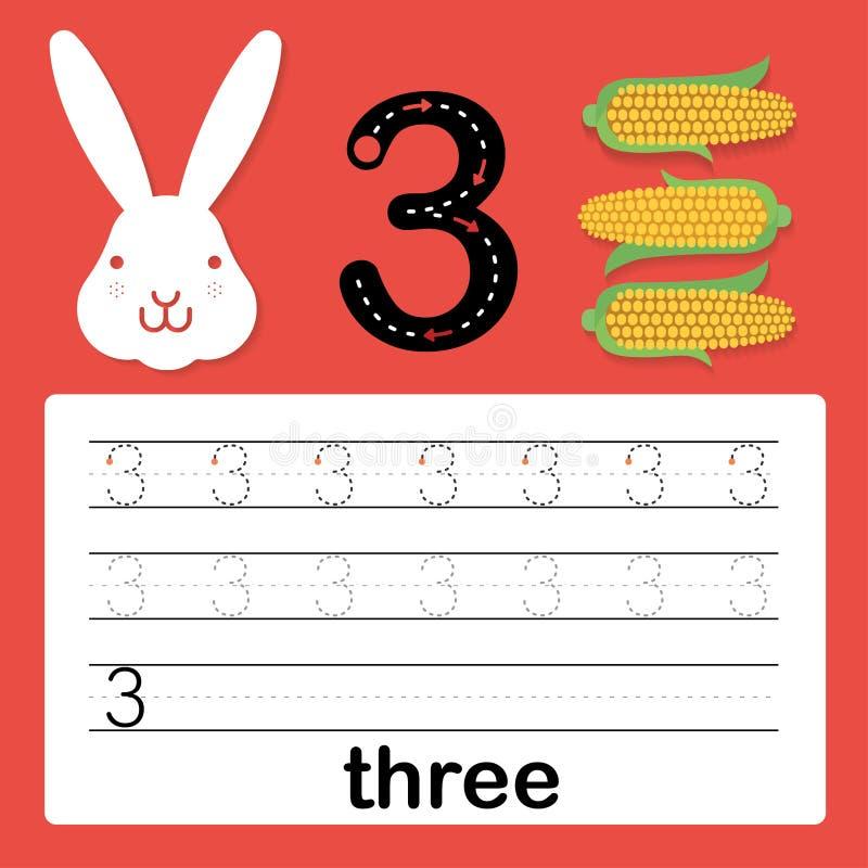 Numero tre, carta per i bambini che imparano contare e scrivere, foglio di lavoro affinchè bambini pratichino scrivere abilità, i illustrazione di stock