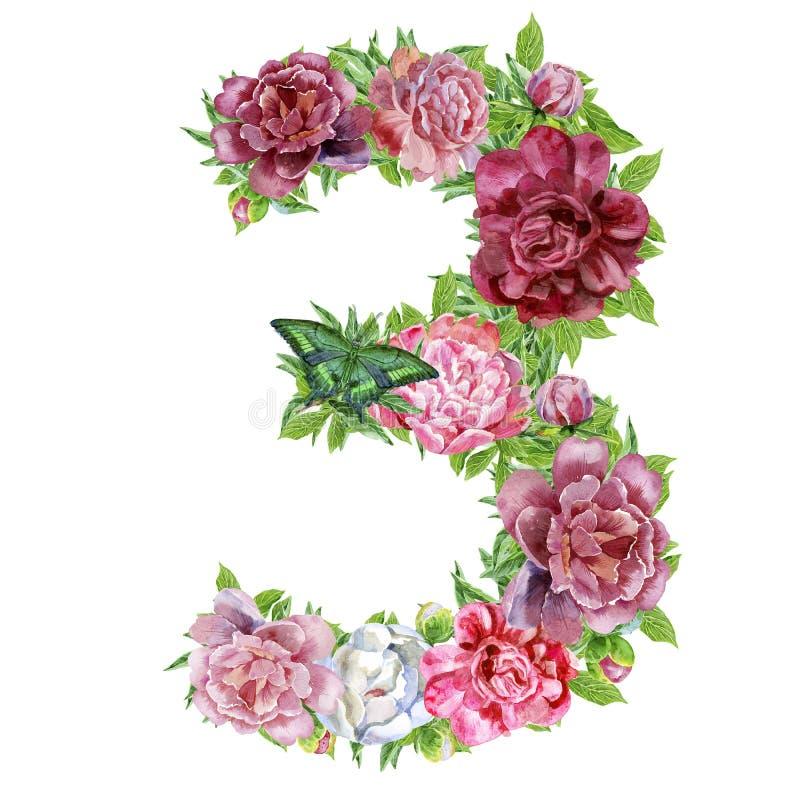 Numero tre dei fiori dell'acquerello illustrazione vettoriale