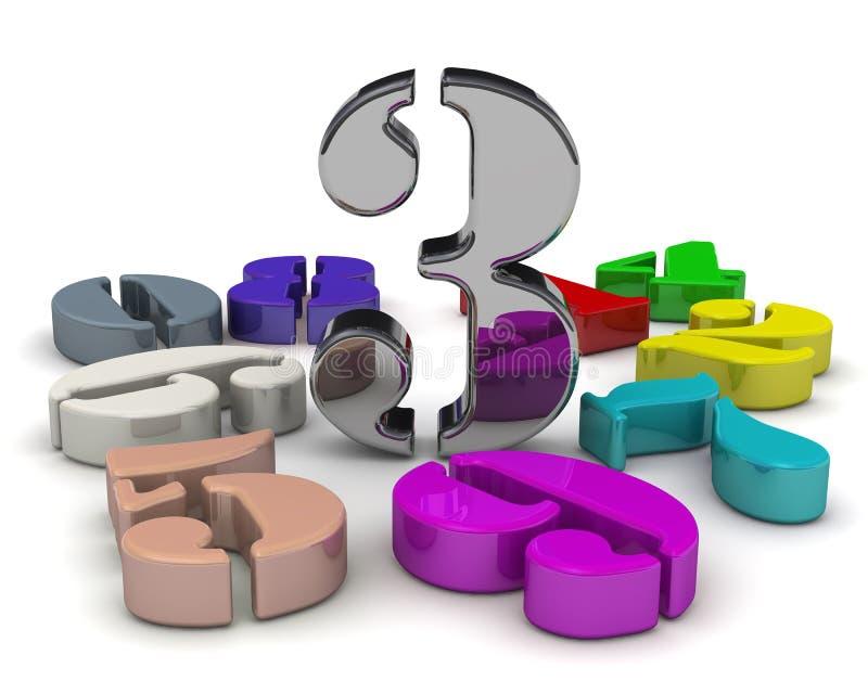 Numero tre in mezzo ai numeri illustrazione vettoriale