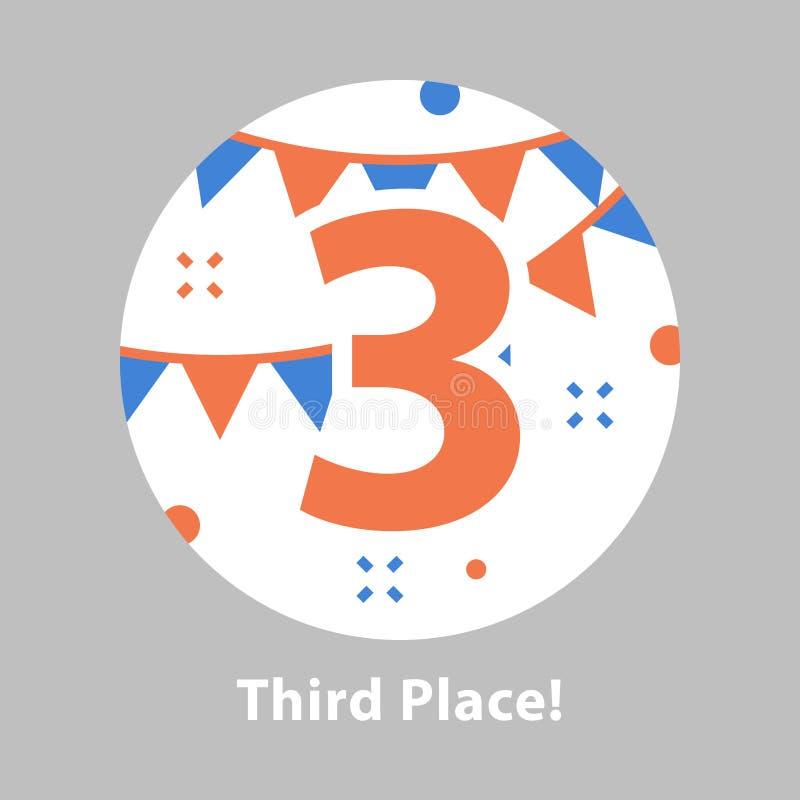 Numero tre, terzo posto, cerimonia di premiazione, celebrante evento, riuscita realizzazione illustrazione di stock