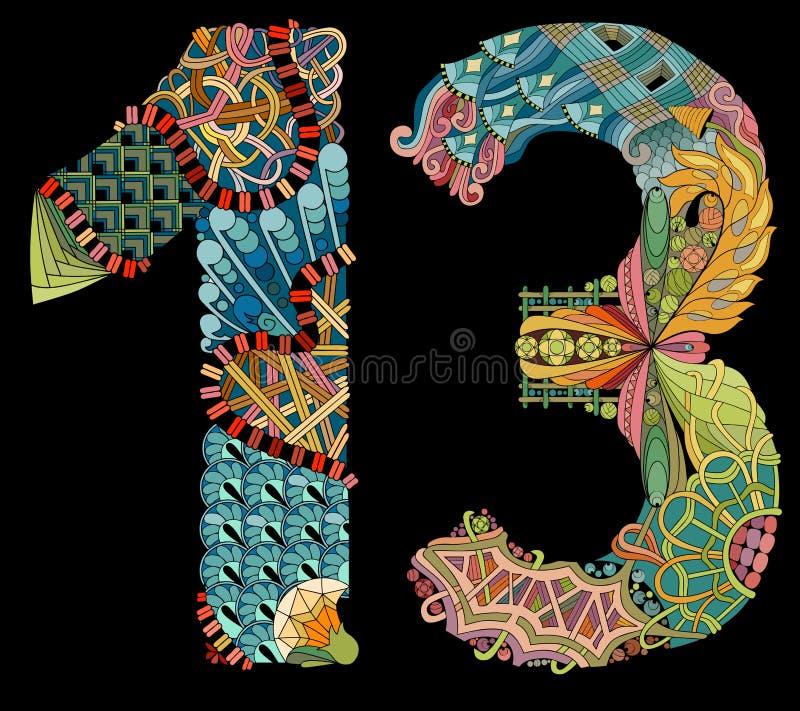 Numero tredici Zentangle su un fondo nero Oggetto decorativo di vettore illustrazione di stock